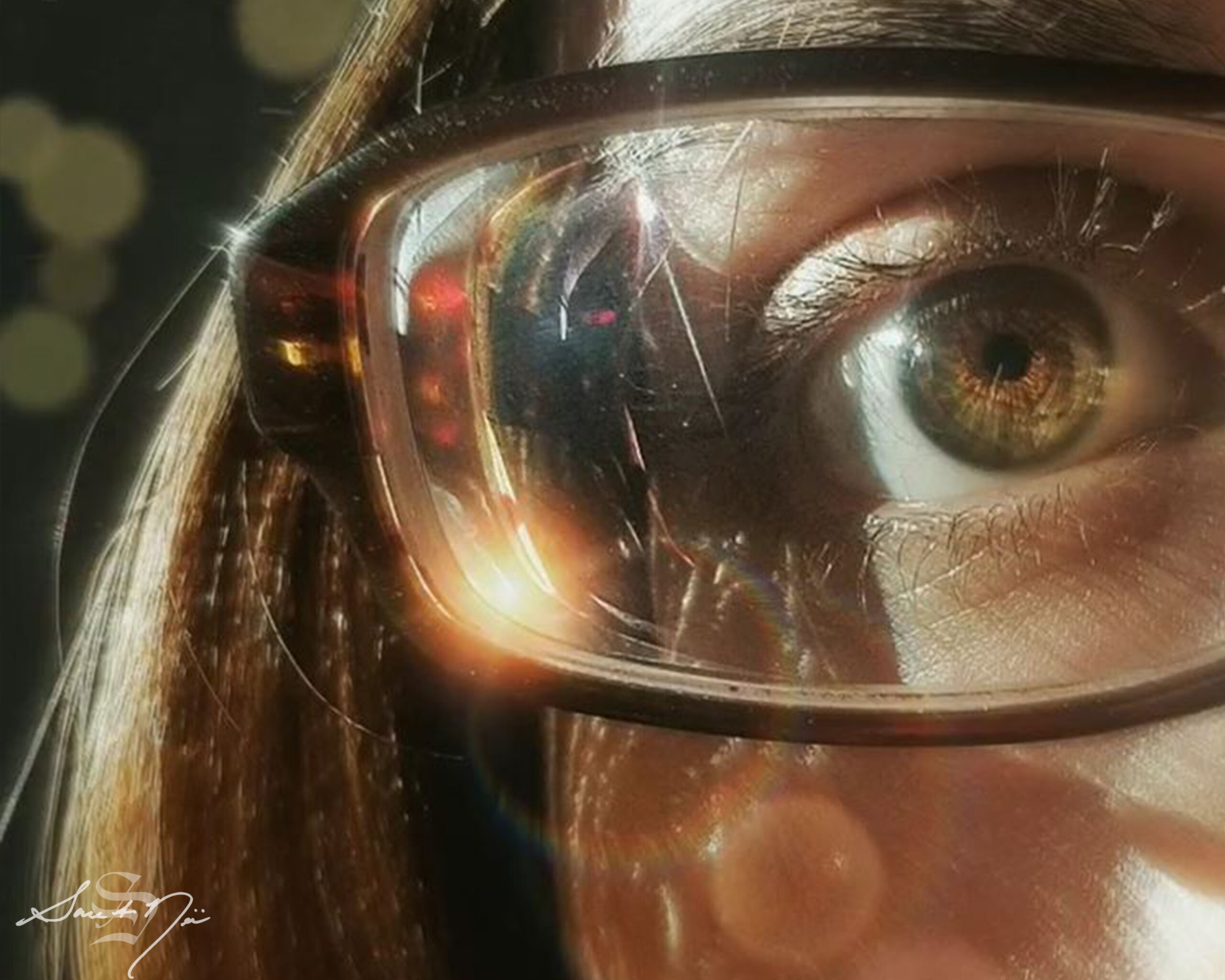 Light shining on glasses hazel brown eye